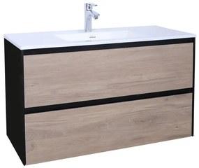Adema Industrial Badmeubelset 100x45.5x58cm met overloop hout/zwart Industrial-100