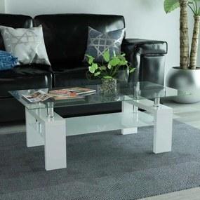 Hoogglans salontafel met legplank 110x60x40 cm wit