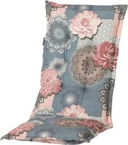 Stoelkussen met hoge rug Lisa 123x50 cm roze en grijs