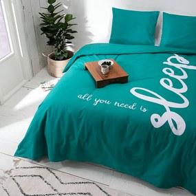 Dekbedovertrek All You Need Is Sleep - 1-persoons (140x220 cm) - Katoen - Tekst - Groen - Ga naar Dekbed-Discounter.nl & Profiteer Nu