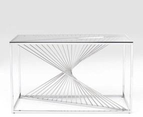 Kare Design Laser Silver Design Sidetable Met Glas Zilver - 120 X 40cm.