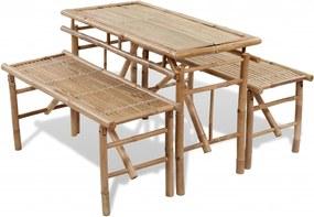Biertafel met 2 bankjes 100 cm bamboe