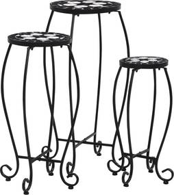 Mozaïektafels 3 st keramiek zwart en wit