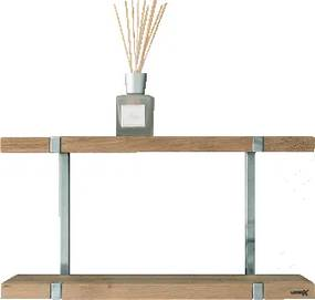 Wood planchet vrijhangend (lxhxd) 800x30x150mm planchet hout frame roestvaststaal (RVS)