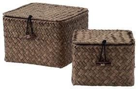 Compactor mandje vierkant - bruin - set van 2