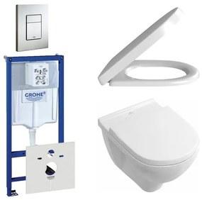 Villeroy en Boch O.Novo toiletset bestaande uit inbouwreservoir, diepspoel compact wandcloset met softclose en quick release toiletzitting en bedieningsplaat RVS 0729205/0124162/0124182/0720026