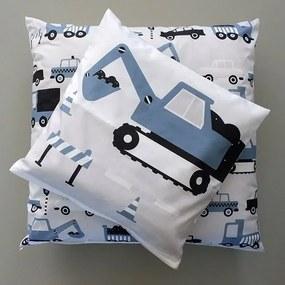 ANNI Design - Kussen Kinderkamer Graafmachine Jeans - Blauw