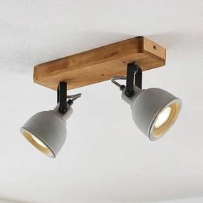 Mirka LED plafondlamp, pijnboomhout, 2lamps - lampen-24