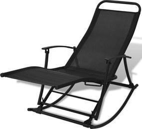 Tuinschommelstoel staal en textileen zwart