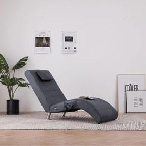 Massage chaise longue met kussen kunstsuède grijs