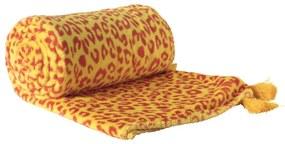 Plaid flanel luipaard - geel/rood - 130x170 cm