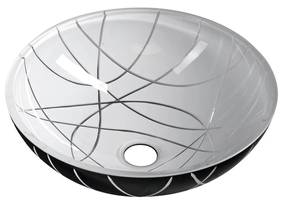 Waskom Sapho Murano Linea Rond 40x14 cm Glas Zwart / Wit