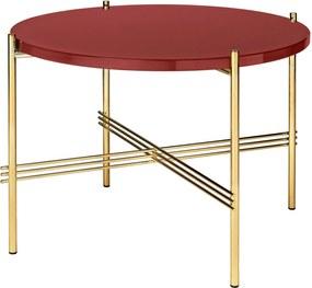 Gubi TS Table Glass Bijzettafel Brass 55cm Rusty Red