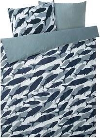 Satijnen dekbedovertrek 200 x 200 cm Blauw/vissen