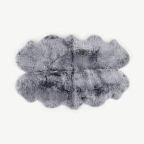 Helgar groot quad schapenvacht vloerkleed, 105 x 170 cm, grijs