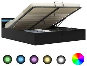 Bedframe met opslag hydraulisch LED kunstleer zwart 160x200 cm