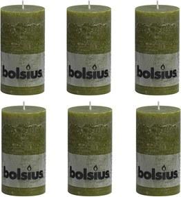 Rustiekkaarsen 6 st 130x68 mm olijfgroen