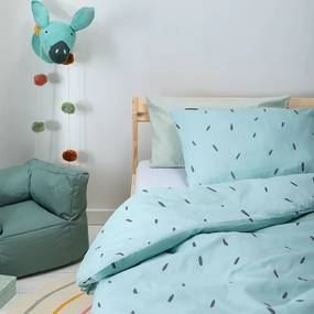 Fresh&Co Kids Mini Stripes - Blauw 100 x 135 cm Dekbedovertrek