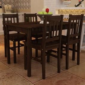 Eettafel met 4 stoelen hout bruin