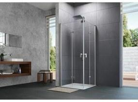 Huppe Design pure 2 delige vouwdeur sft links 90x190cm matzilver antiplaque glas 8p0804087322