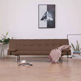 Medina Slaapbank met twee kussens polyester bruin