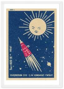 Rocket Vintage Space, ingelijste print, A1, donkerblauw, rood en zwart zwart