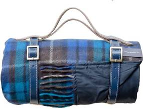 Picknickkleed wol: blauw, ruiten Met band