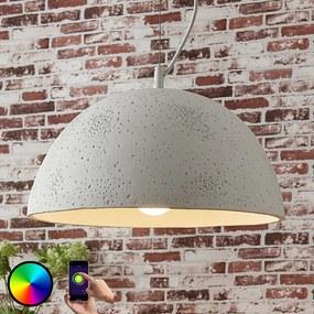 Smart betonnen hanglamp Carolle, RGB-LED - lampen-24
