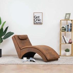 Chaise longue met kussen kunstsuède bruin