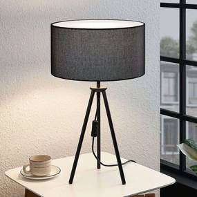 Driepotige tafellamp Bentja, stof zwart