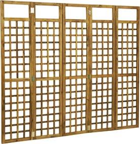 Latwerk/Kamerscherm met 5 panelen 200x170 cm massief acaciahout