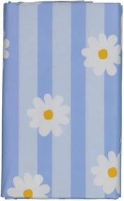 Tafelzeil 140x240 Streep/bloem - Wit/blauw