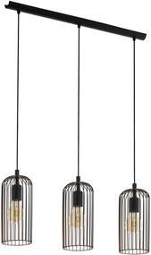 EGLO hanglamp Roccamena 3-lichts - zwart/koperkleurig - Leen Bakker