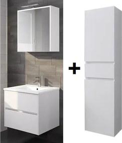 Badkamermeubel set Melle 60cm met spiegelkast en Hoge kast Hoogglans wit
