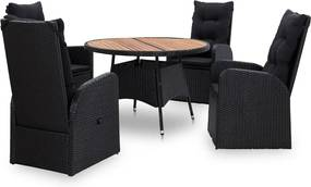 5-delige Tuinset poly rattan acaciahout zwart