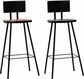 Barstoelen 2 st massief gerecycled hout