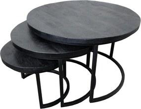 4udesigned   Set van 3 salontafels Mango Coins afmetingen kleine tafel: diameter 43 cm x hoogte 34 zwart salontafels mangohout,   NADUVI outlet