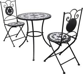 3-delige Bistroset keramische tegel zwart en wit
