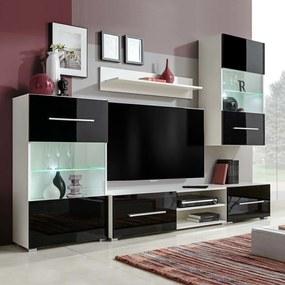 Medina Muurvitrine tv-meubel met LED-verlichting zwart 5-delig
