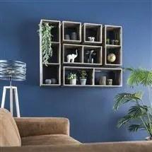 Dimehouse | Wandrek Taza drie vakken: lengte 20 cm x breedte 30 cm x hoogte bruin wandrekken teakhout opbergen decoratie | NADUVI outlet