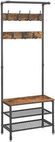 Nancy's Garderoberek met Kapstok - Schoenenrek - Industrieel - 66 x 32,5 x 183 cm