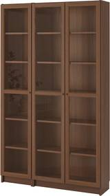 BILLY / OXBERG Boekenkast met glazen deur 120x30x202 cm bruin essenfineer