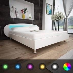 Medina Bedframe met LED kunstleer wit 140x200 cm