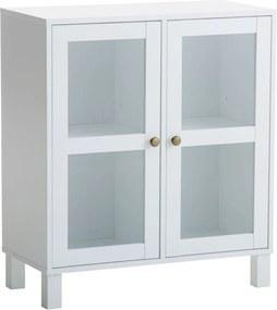 Vitrinekast SKALS glazen deuren wit