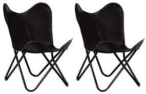 Medina Vlinderstoelen 2 st kindermaat echt leer zwart
