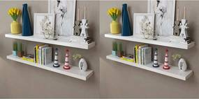 Wandplanken 4 st 120 cm wit