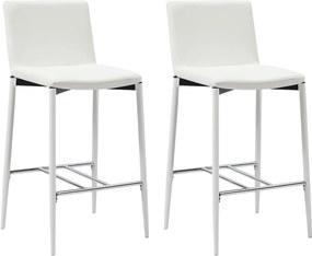 Barstoelen 2 st kunstleer wit