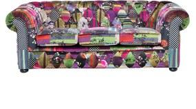 Driezitsbank stof patchwork paars CHESTERFIELD