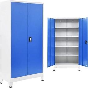 Kantoorkast 90x40x180 cm metaal grijs en blauw