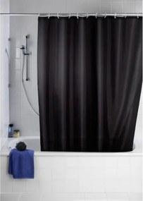 Douchegordijn Wenko Polyester Zwart 180x200cm met Anti-Schimmel Behandeling